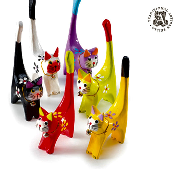 Wooden Handmade Cat Ring Holder Fair Trade Colourful