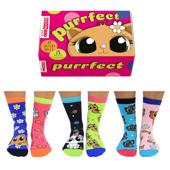 Purrfect Oddsocks - Box of 6 Odd Socks, Fun & Colourful