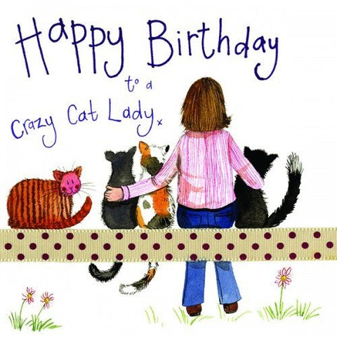 Alex Clark Large Sparkle Card - Crazy Cat Lady