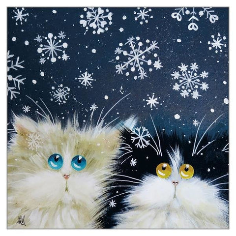 Kim Haskins Cat Christmas Card - Snowflakes (Single)
