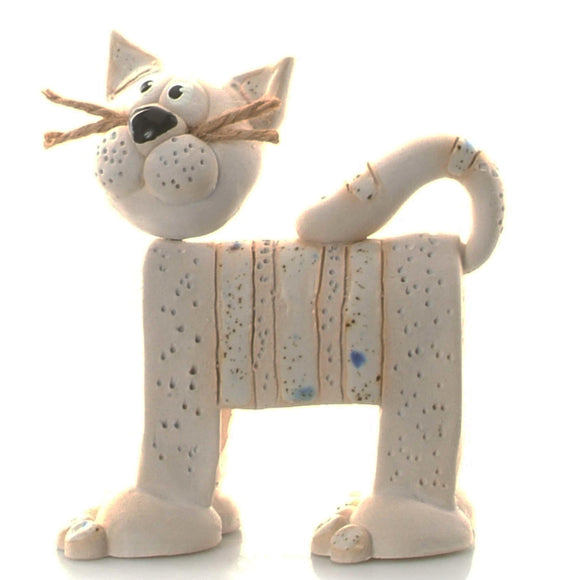Unique Handmade Ceramic Stripey Cat - White
