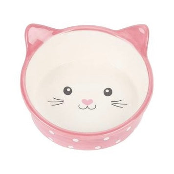 Happy Pet Polka Dot Cat Bowl - Pink or Blue