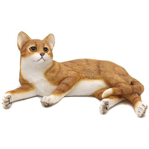 Ceramic Lying Cat Ornament Ginger & White