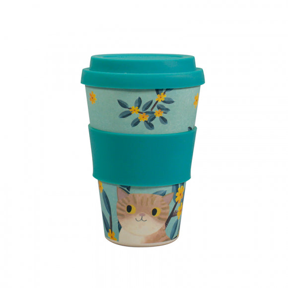 Planet Cat Bamboo Travel Mug with Lid