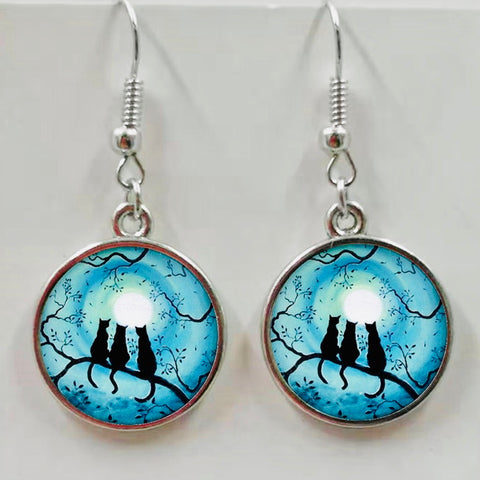 Round Pendant Dangle Cat Earrings - 3 Cats on Branch