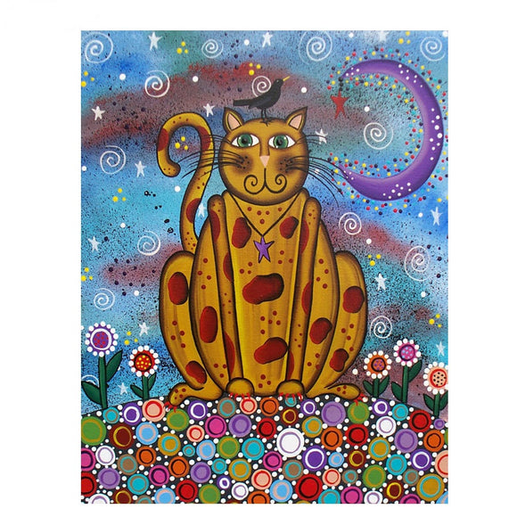 5D Diamond Painting Kit - Blue Night-time Cat
