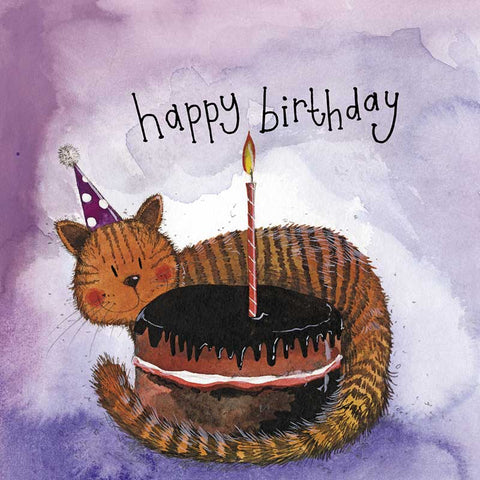 Alex Clark Large Silver Foiled Card - Starlight Cat & Cake