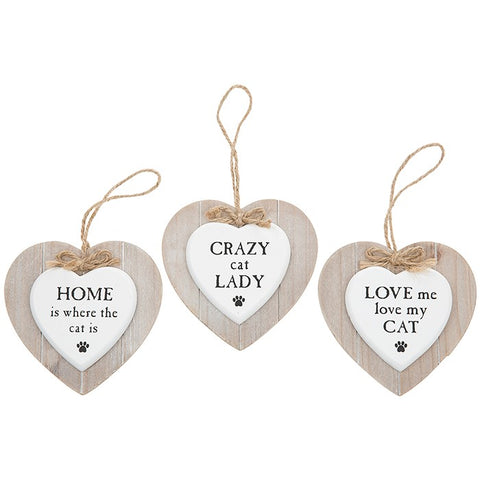 Provence Hanging Heart Cat Plaque - 3 Options