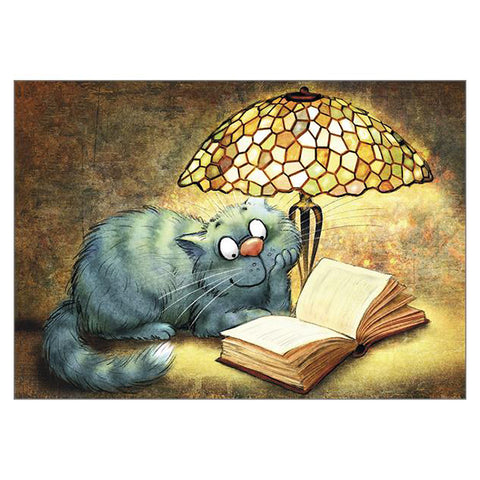 'Lamp' Cat Large Greetings Card - Rita Zeniuk