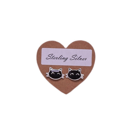 Sterling Silver Enamel Cat Face Stud Earrings