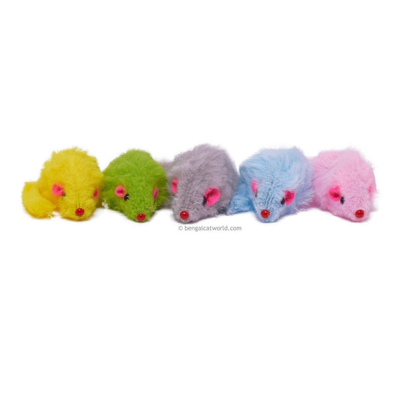 Mini Fleecy Rattle Mice (Pack of 5) 10 Colour Options