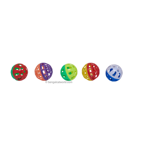 Plastic Kitty Play Balls with Bell (Pack of 5)