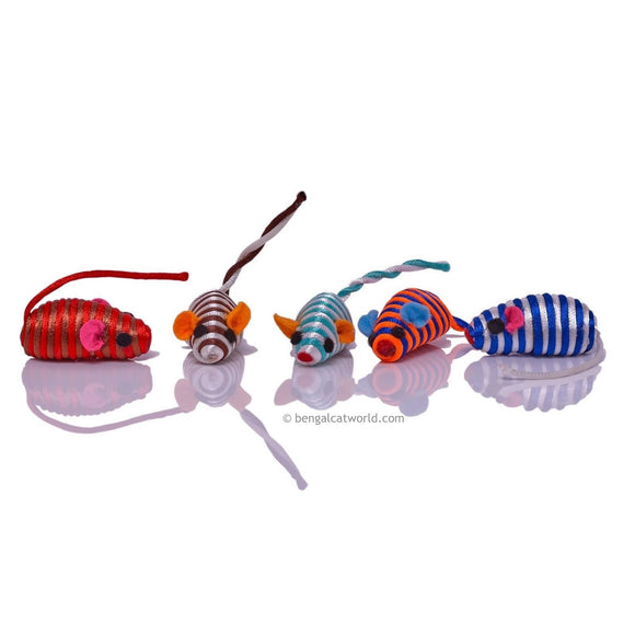 Mini Colourful String Tail Mice (Pack of 5)