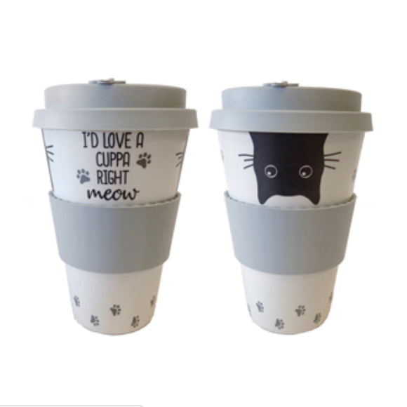 """I'd love a cuppa right meow"" - Bamboo Travel Mug"