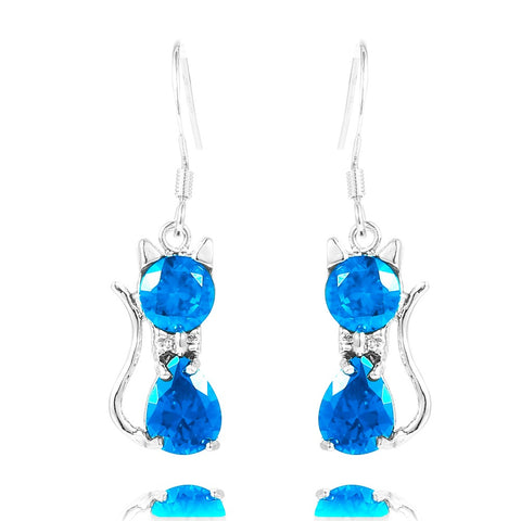 Turquoise Blue Cat Crystal Drop Earrings