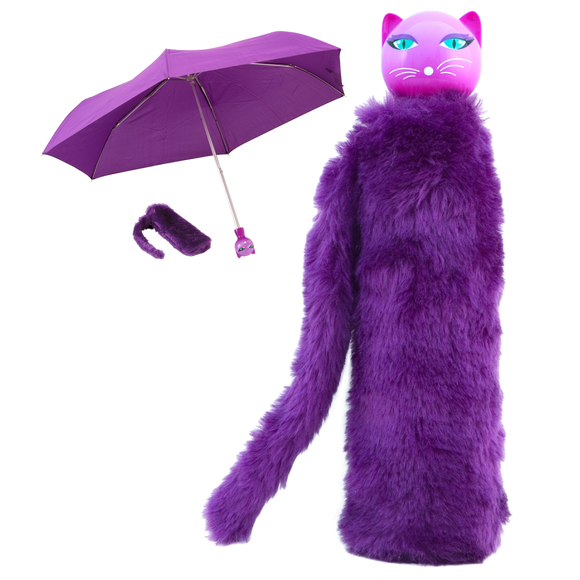 Telescopic Kitty Umbrella with Furry Case - Purple