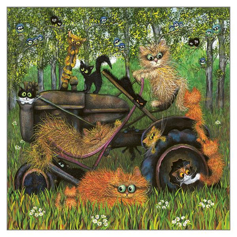 Tamsin Lord Cat Greetings Card - Farm Cat Shenanigans