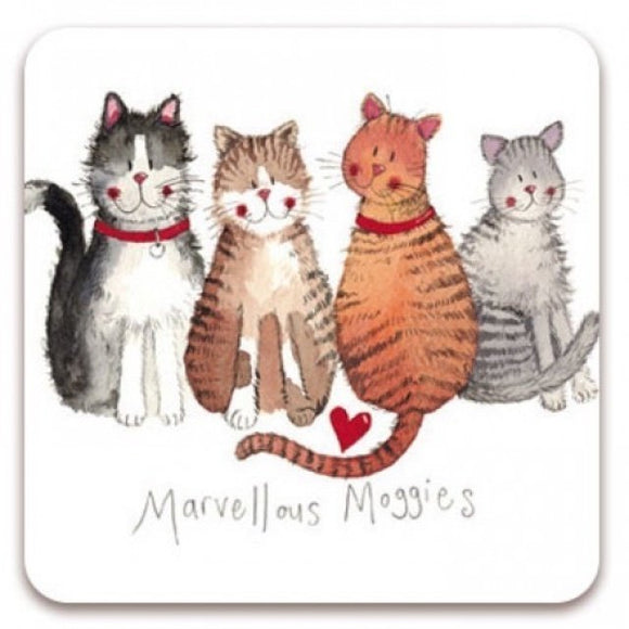 Alex Clark Single Coaster - Marvellous Moggies