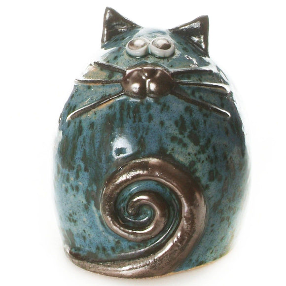 Unique Handmade Ceramic Fat Cat - Blue