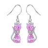 Pink Cat Crystal Drop Earrings