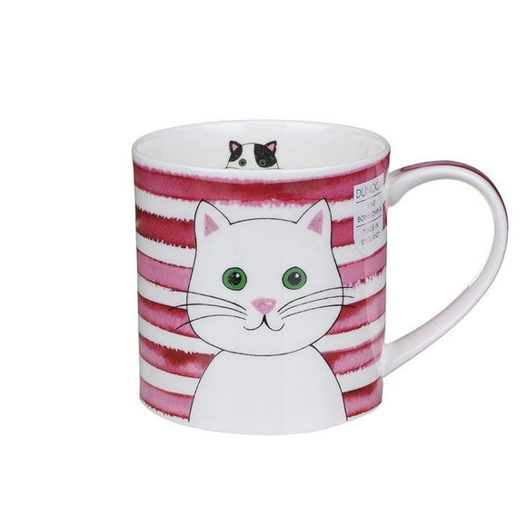 Dunoon Fine Bone China Stripy Cat Mug Pink Gift Box