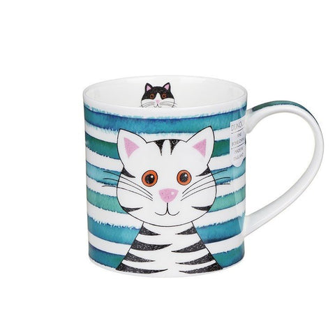 Dunoon Fine Bone China Stripy Cat Mug - Turquoise