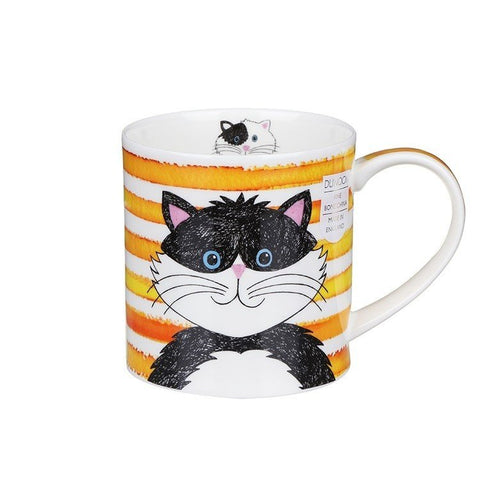 Dunoon Fine Bone China Stripy Cat Mug - Yellow