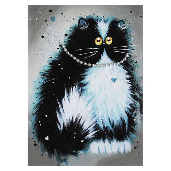 Kim Haskins Pearl Cat Greetings Card