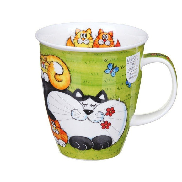 Dunoon Fine Bone China Mug Cats & Kittens Green Gift Box