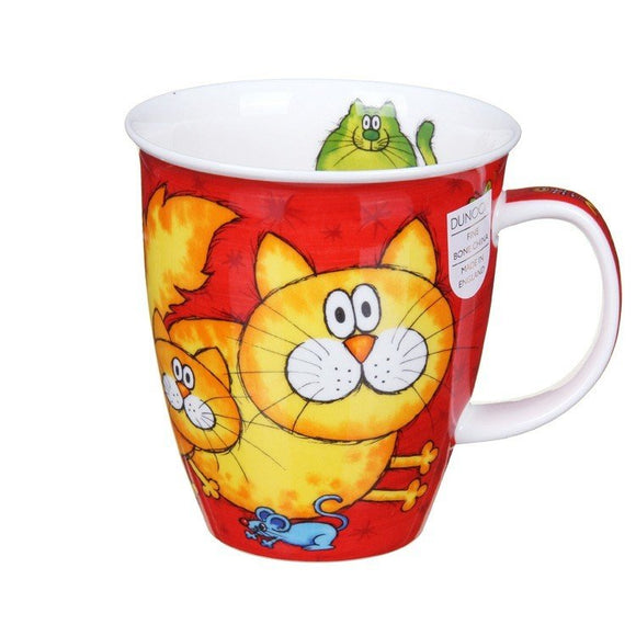 Dunoon Fine Bone China Mug Cats & Kittens Red in Gift Box