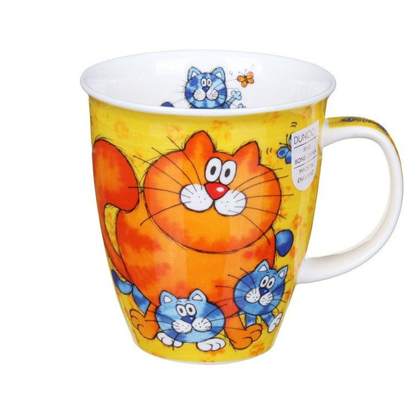 Dunoon Fine Bone China Mug Cats & Kittens Yellow Boxed
