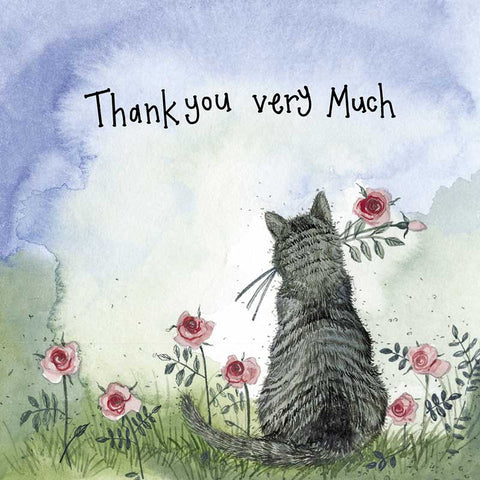 Sunshine Cat Thank You Card - Gold Foiled