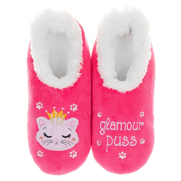 Snoozies Pairables Glamour Puss Cat Slippers