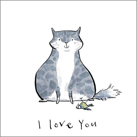 Holly Surplice Cat Greetings Card - I Love You