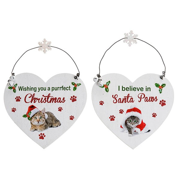 Santa Paws Christmas Heart Plaque Cat