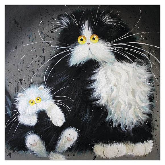 Kim Haskins Cat Greetings Card - A Tale of Two Kitties