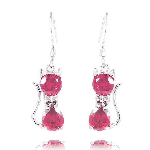 Rose Cat Crystal Drop Earrings