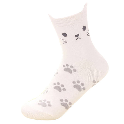Ladies Cotton Cat Socks with Ears! 5 Colours