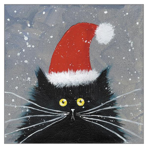 Kim Haskins Cat Christmas Card - Santa Kitten (Single)