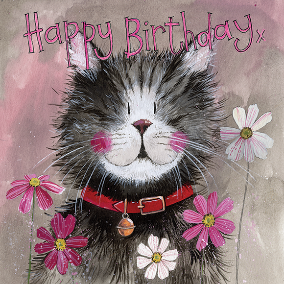Alex Clark Classic Square Birthday Card - Whiskers