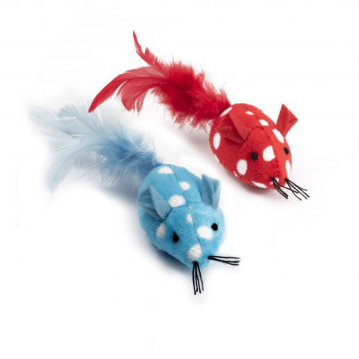 Ancol Polka Mouse Catnip Cat Toy, Pack 2