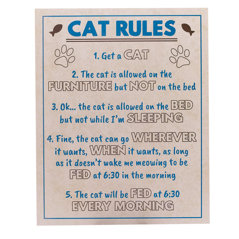 'Cat Rules' Humorous Large Sign