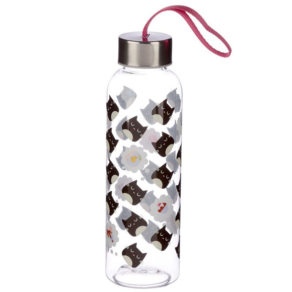 Feline Fine Reusable Plastic Water Bottle with Metallic Lid