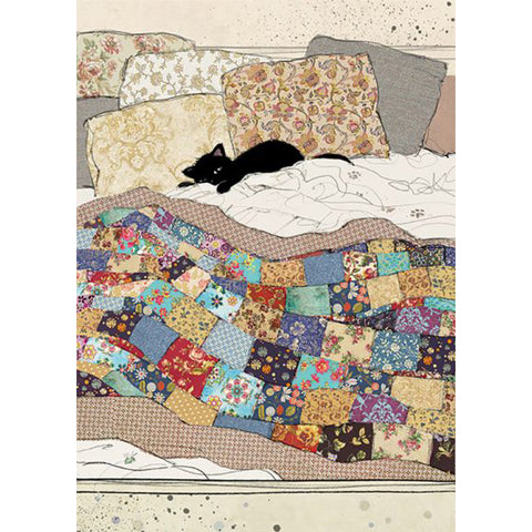 Bug Art Luxury Greetings Card - Bed Kitty