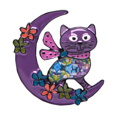 Enamel Kitty Badge / Brooch - Moon Cat