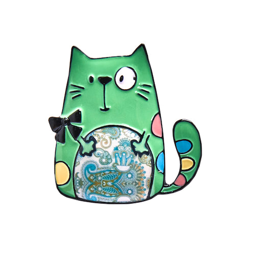 Enamel Kitty Badge / Brooch - Sitting Cat