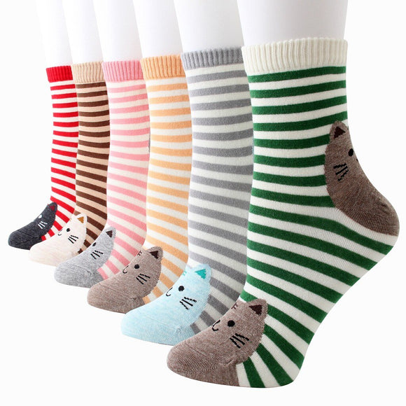 Ladies Cotton Cat Socks - Stripey (5 Colours)
