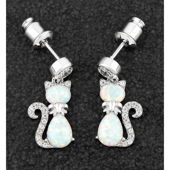 Platinum-plated Opalescent Cat Earrings