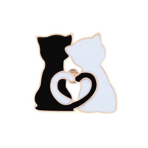 Black & White Cat Couple Enamel Pin Badge