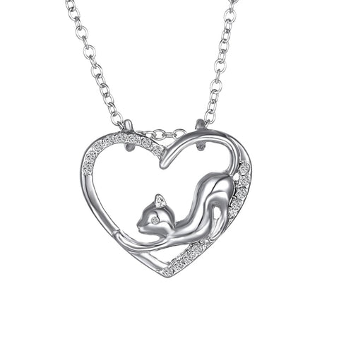 Silver Coloured Cat Necklace - Cat in Heart